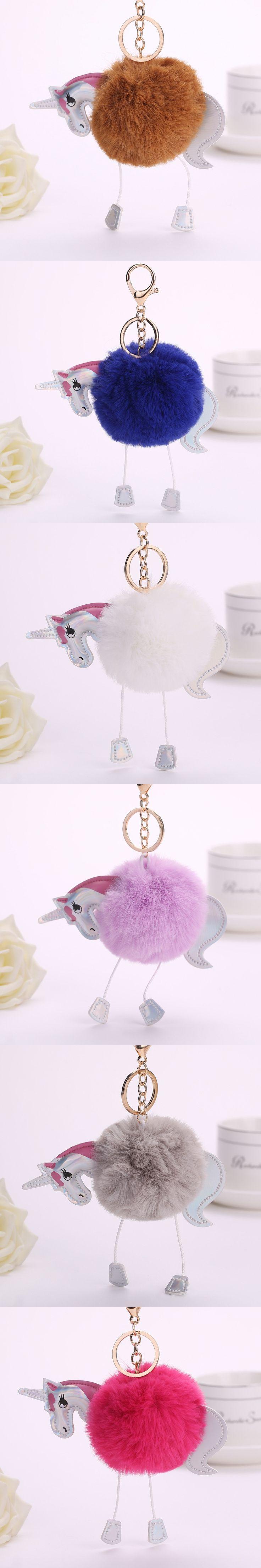 2017 New Selling Unicorn Plush Horse Hammer Ball Cartoon PU Fur Ball Keychain Bag Key Pendant Ladies Men Jewelry Holiday Gift