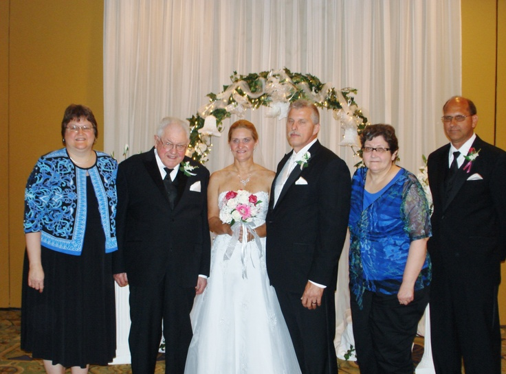 George's sister. Patty's wedding 2011. From left: Anna, Dad,Patty, Dennis, Carol, and George. Missing was Mikie B., R.I.P