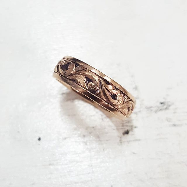 #wip rose gold wedding ring almosg finished being hand engraved and sculpted