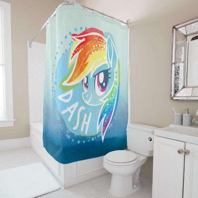 My Little Pony Rainbow Dash Watercolor Shower Curtain Zazzle