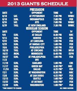 New York Giants #NFL Game Schedule 2013 #NYG #GMen