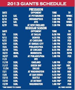 New York Giants #NFL Game Schedule 2013 #NYG #GMen