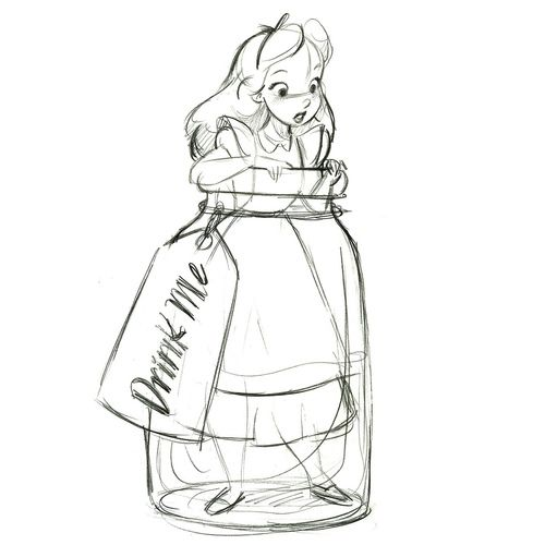 """Drink Me"" Alice in Wonderland Ornament - Product Image #2 - Sketch (by drj1828)"