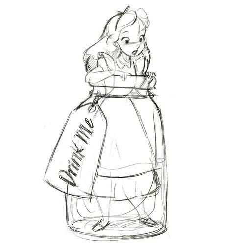 """Drink Me"" Alice in Wonderland Ornament - Product Image #2 - Sketch (by drj1828)"