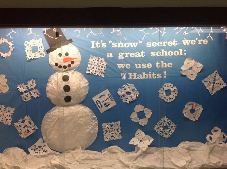 Leader in Me 7 Habits bulletin board. Kids wrote anything they wanted about habits on their snowflakes.