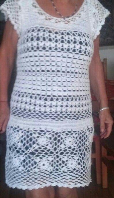 Vestido tejido a crochet o ganchillo con hilaza Omega, 480 gramos aprox. ganchillo de acero  n° 2.  Hilo usado doble.