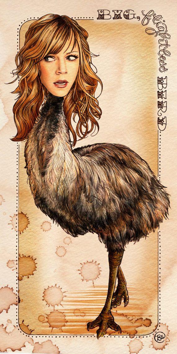 Sweet Dee the Big Flightless Bird 5x10 print by bsmithereens, $15.00