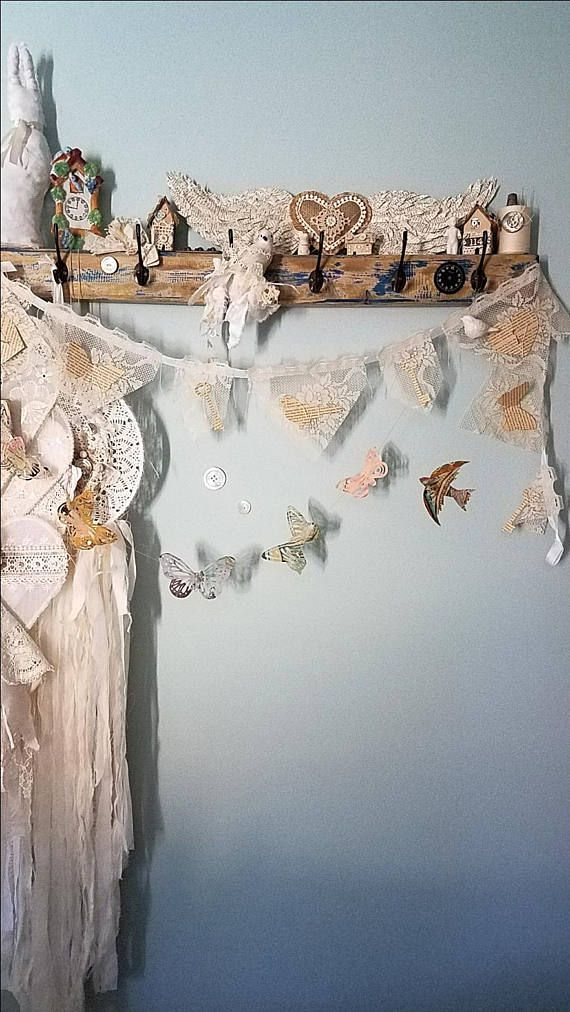 Lace Banner Lace Garland Paper Heart Garland Vintage Lace