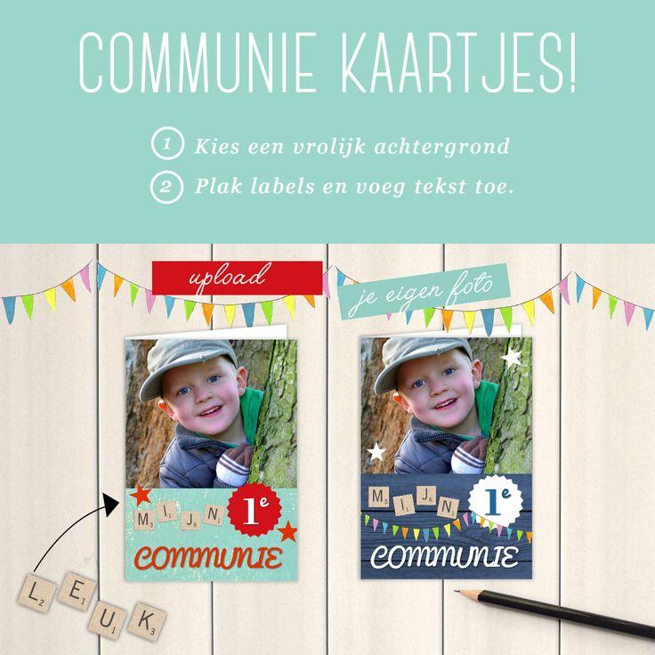 Communie kaartjes nodig? Die kun je zelf maken bij Fotokaarten.nl Heel erg makkelijk! Gewoon een foto uploaden, een leuke achtergrond kiezen en versieren. Meerdere foto's maken is geen probleem. Proefkaartje mogelijk. www.fotokaarten.nl