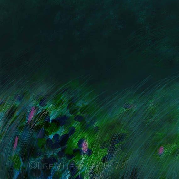 Dessin art abstrait peinture crayon tons de vert bleu