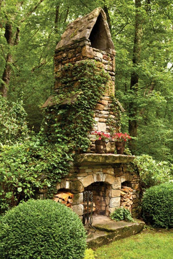 50 Exciting Rustic Outdoor Fireplace Decor Ideas Garten Ideen Hintergarten Wohnen Im Freien