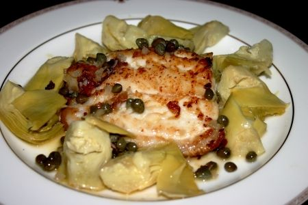 This was amazing! Pan seared grouper with a white wine lemon butter sauce with capers and artichoke hearts.