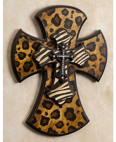 """14"""" Leopard Wall Cross. Would love this for my bedroom to go with my animal print theme :)"""