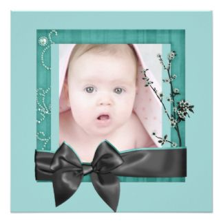 Sophisticated TealRibbon  Photo Birth Announcement