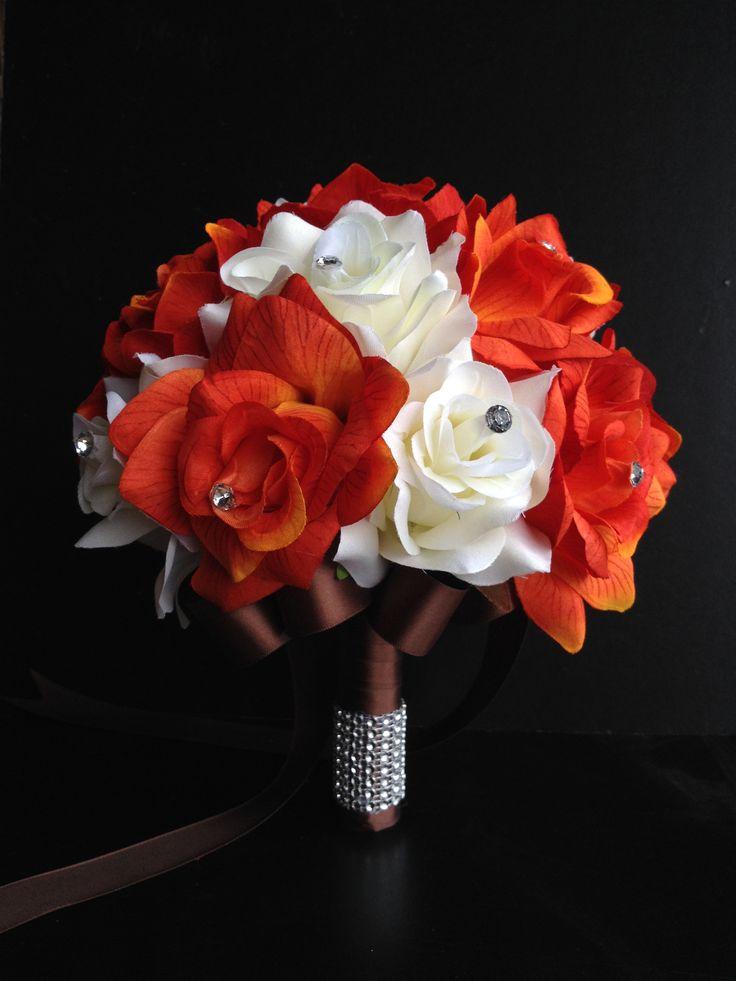 "9"" Bouquet - Orange and Ivory with Rhinestones"