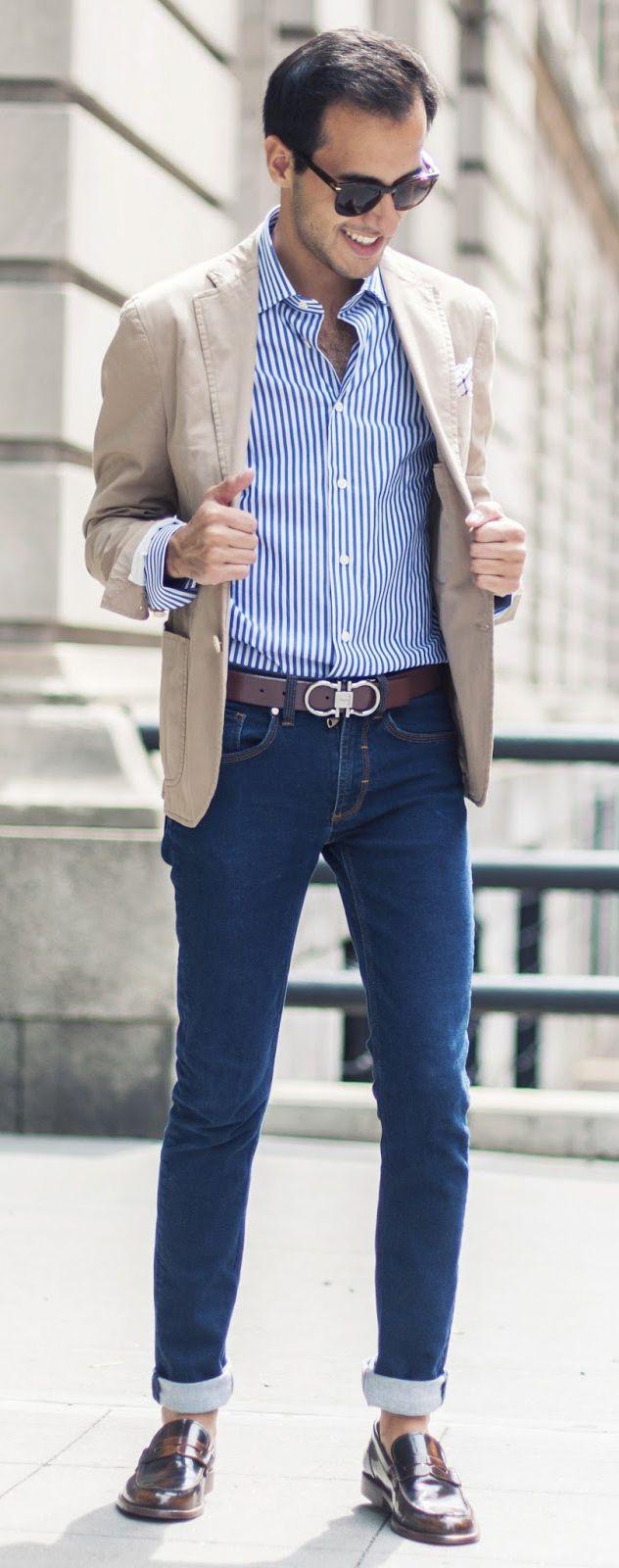 Chemise rayée + Veste en lin beige + Jean Brut = Look Parfait #nouvelleco #chic #look #mode #homme