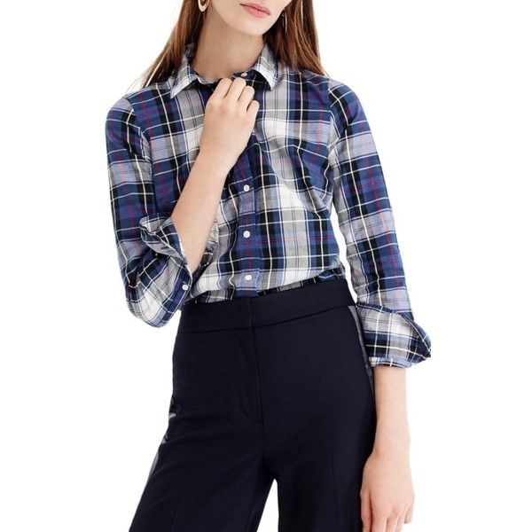 Women's J.crew Perfect Plaid Shirt (2 095 UAH) ❤ liked on Polyvore featuring tops, petite, pink, pink top, j crew shirts, slim fit plaid shirt, navy top and pink plaid shirt