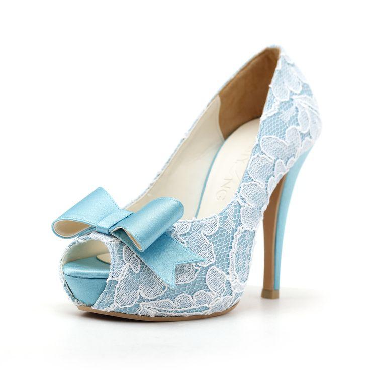 Elegant light blue wedding shoes design