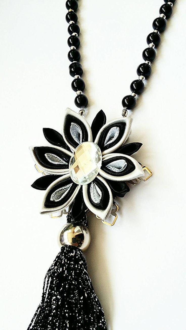 Negro collar largo de plata collar de por LenajewelleryDesign