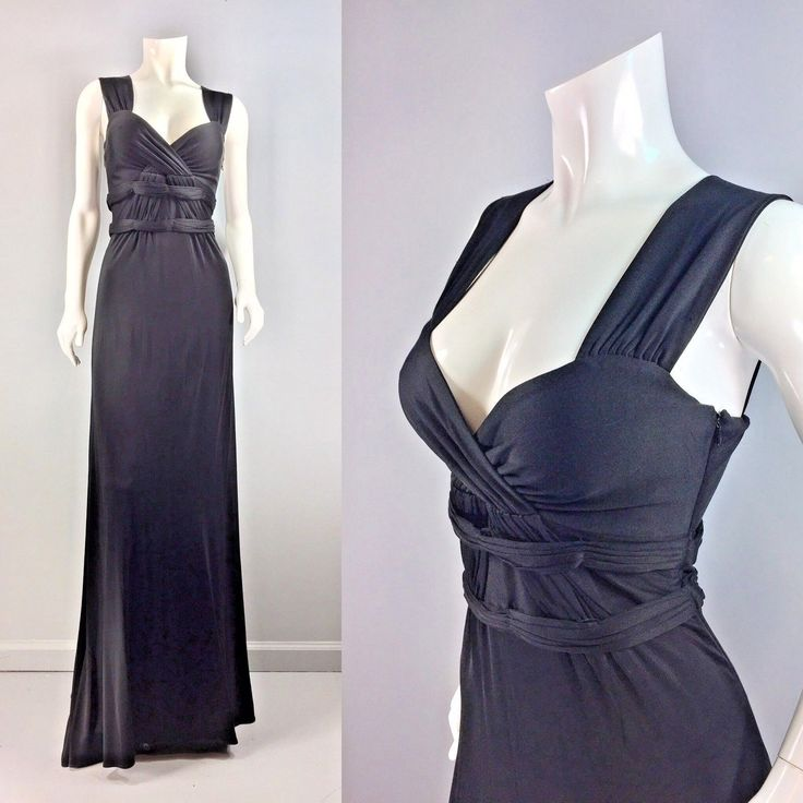 Vintage Issa London Black Jersey knit Grecian Goddess Fitted Formal Dress Gown