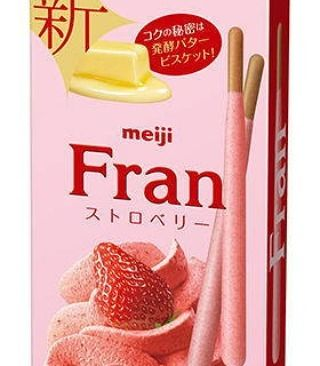 Meiji Fran Chocolate Strawberry 9sticks  Fermented butter biscuit. Whipped strawberry chocolate coating.  3sticks(14g) x 3bags in the box.  http://ift.tt/29aVS9i