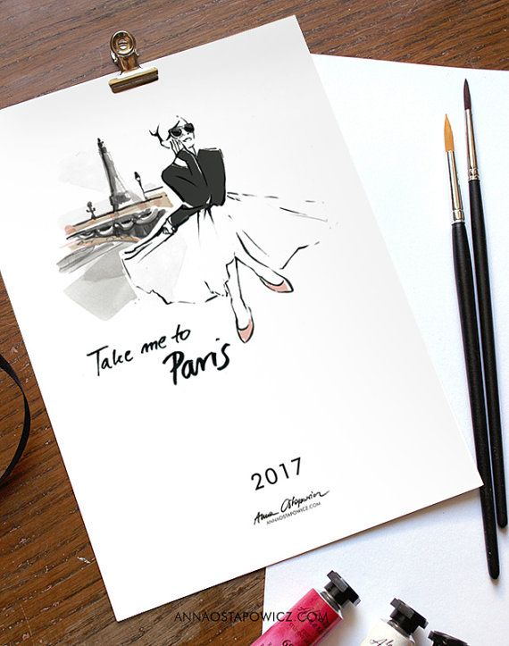 Take me to Paris CALENDAR 2017, #papergoods, #watercolor, #etsy, #artprint, #illustration, # parisian, #wallart