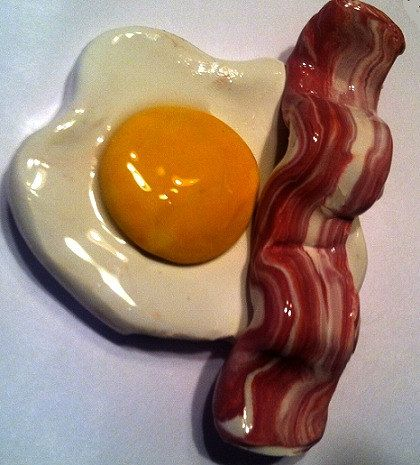 Bacon and Egg Magnet Polymer Clay Magnet by GuiltfreeDecadence