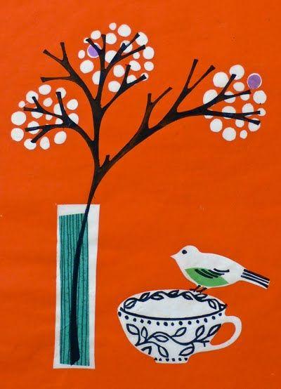 print & pattern: Cup, Fiona Howard, Art Birds, Art Fiona, Bird Art, Print Patterns, Art Design Photography