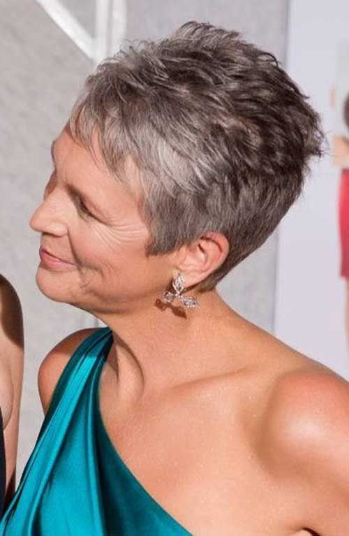 Short Straight Layered Pixie for Grey Hair