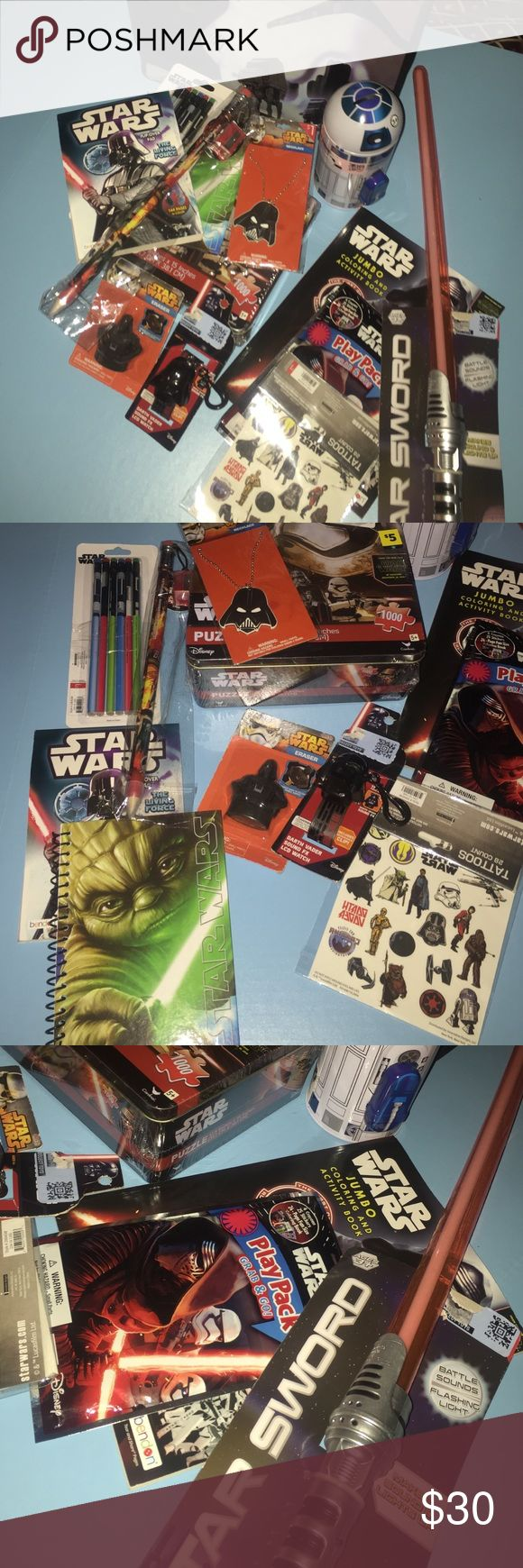 The Ultimate Star Wars Fan Bundle A Star Wars bag filled with Star Wars goodies. All new and unopened (except for pack of 6 pencils are taped in their packaging). This amazing bag contains: 6 pencils, 1 giant pencil with sharpener, SW activity pad, DV necklace, small spiral SW notebook, 1000 piece SW puzzle, DV eraser, DV watch with sound, 28 count tattoos, grab and go play pack with fun size crayons, stickers, and mini coloring book, full size coloring book, R2D2 metal bank, star sword with…