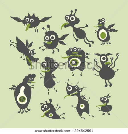 Happy monsters vector illustrations. Mega Set 4 #monsters #monsterillustration #vectorpattern #patterndesign