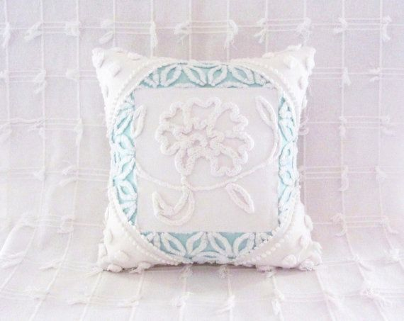 aqua chenille pillow cover peony and pearls 16 x 16 white cushion cover cottage chic shabby