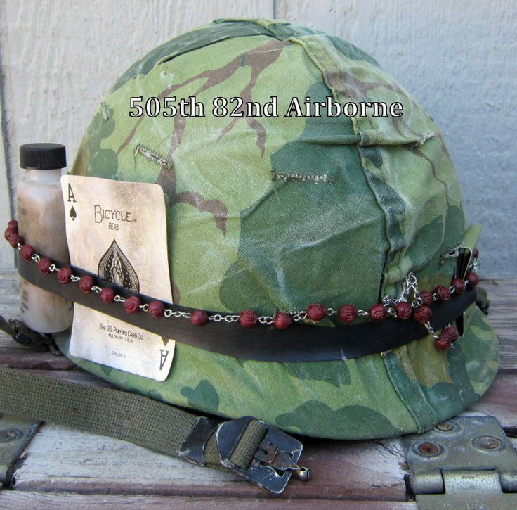 Vietnam M1 Helmet & 1969 Liner Band Camo Cover Rosary Insect Bottle
