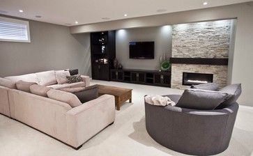 Off Center Fireplace Basement Design Ideas, Pictures, Remodel and Decor