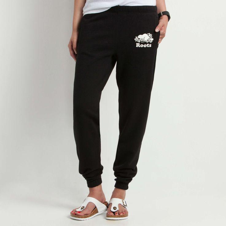 Original Slim Sweatpant | Roots Womens Sweatpants - black