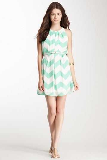 Sleeveless Belted Print Dress on HauteLook $29