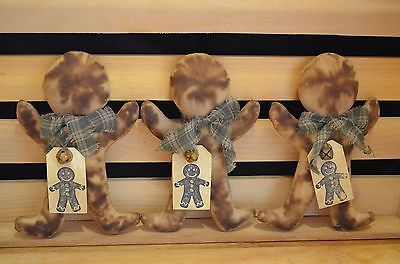 3 Grungy Stuffed GINGERBREAD MAN Ornies Fillers Primitive Country Christmas Tags