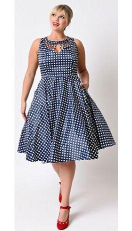 Unique Vintage Plus Size 1950s Navy & White Check Hacienda Sateen Swing Dress