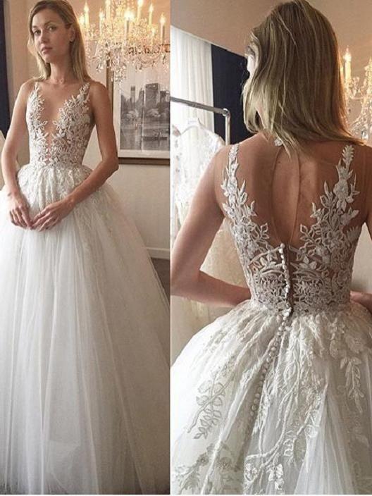 Ivory Wedding Dresses Floor-length Appliques Tulle Bridal Gown JKW039
