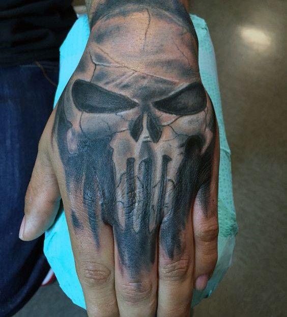 Punisher Skull Mens Hand Tattoo