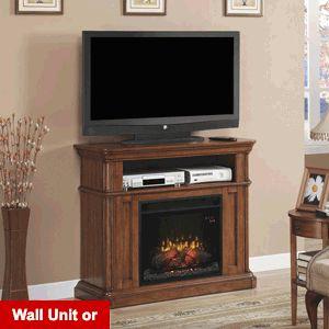 Oakfield Wall/Corner Electric Fireplace Media Center in Premium Pecan Birch - 23DE8202-P273