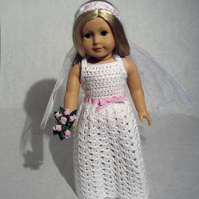 Crochet wedding dress for doll
