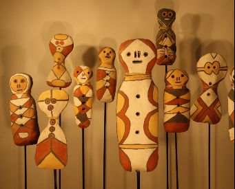 Clay totemic sculptures made by the artists working in the Girringun Aboriginal Art Centre.