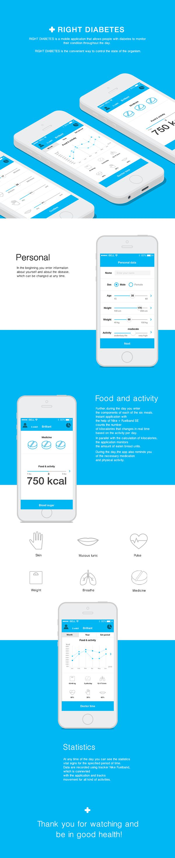 Unique App Design, Right Diabetes #App #Design (http://www.pinterest.com/aldenchong/)