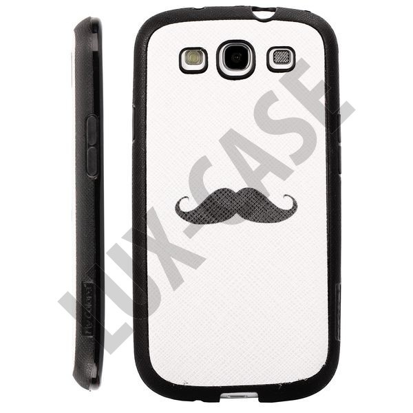 Happy Cartoon (White - Black Beard) Samsung Galaxy S3 Deksel