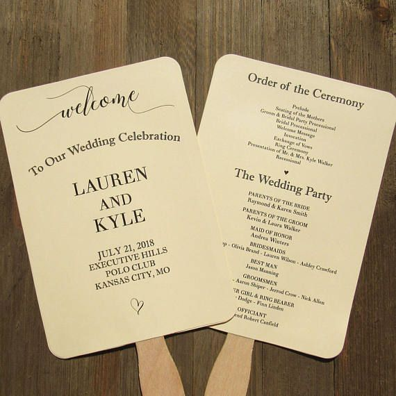 Wedding Program Fans - Wedding Hand Fans - Wedding Personalized Fans - by Abbey and Izzie Designs
