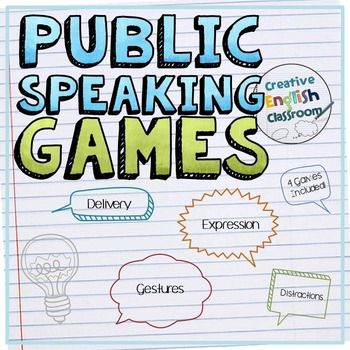 Public Speaking Games - Delivery, Expression, Distractions, and GesturesPublic speaking can seem like an impossible task to many students, but it doesnt have to feel that way!  Students can tolerate  and even enjoy  public speaking when they learn it in a fun and engaging way.