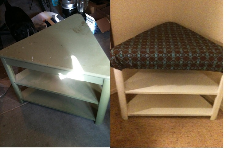 picked up this funky triangular table thing from a thrift store for 10 bucks, turned it into a cushioned corner bench with storage!! #bench #diy #shoeholder #cushioned