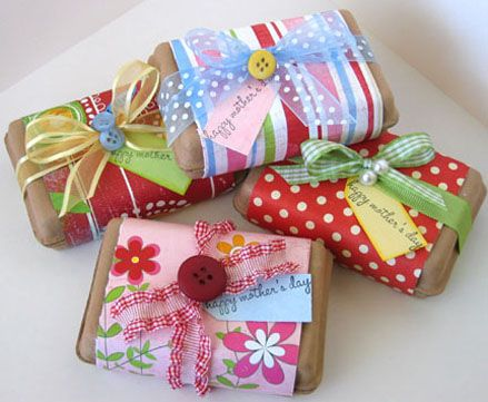 Wrap a bar of soap in brown paper, add a strip of scrapbook paper and fancy ribbon.