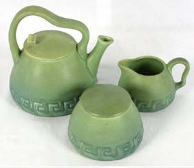 Rookwood art pottery Arts and Crafts matte green tea set.1907. 3 pieces of squat form with Greek Key incised patterns